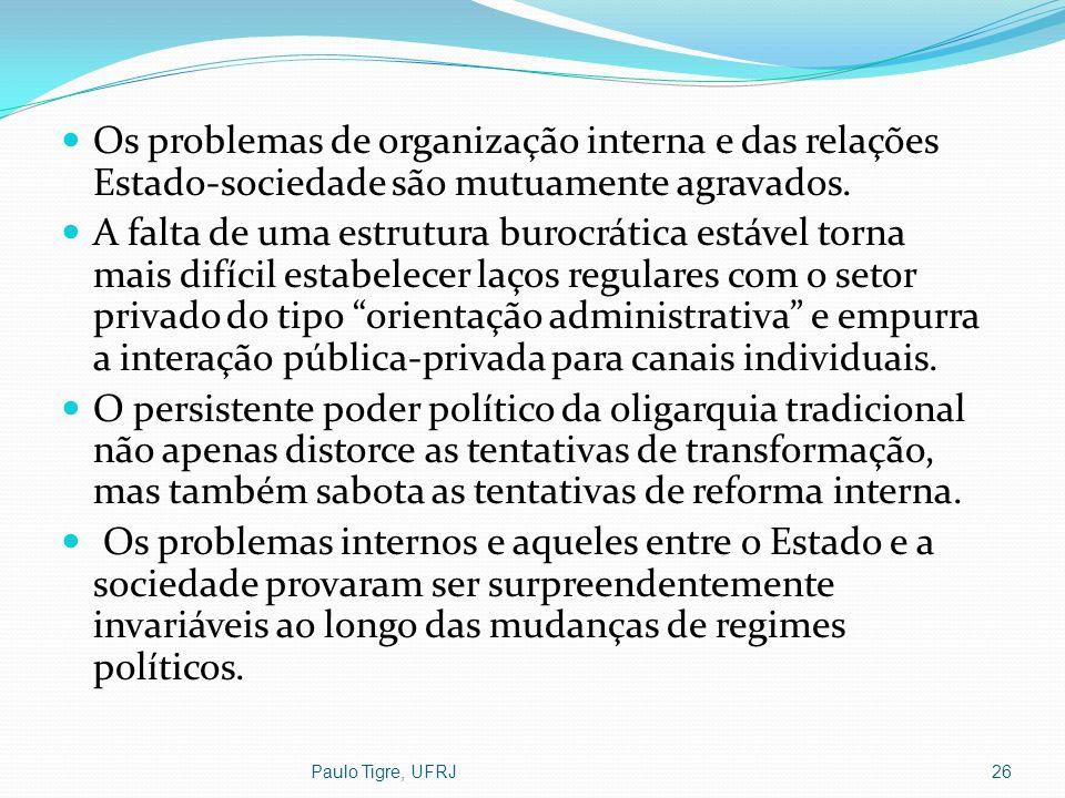 Paulo Tigre, UFRJ26 Os problemas de organização interna e das relações Estado-sociedade são mutuamente agravados. A falta de uma estrutura burocrática