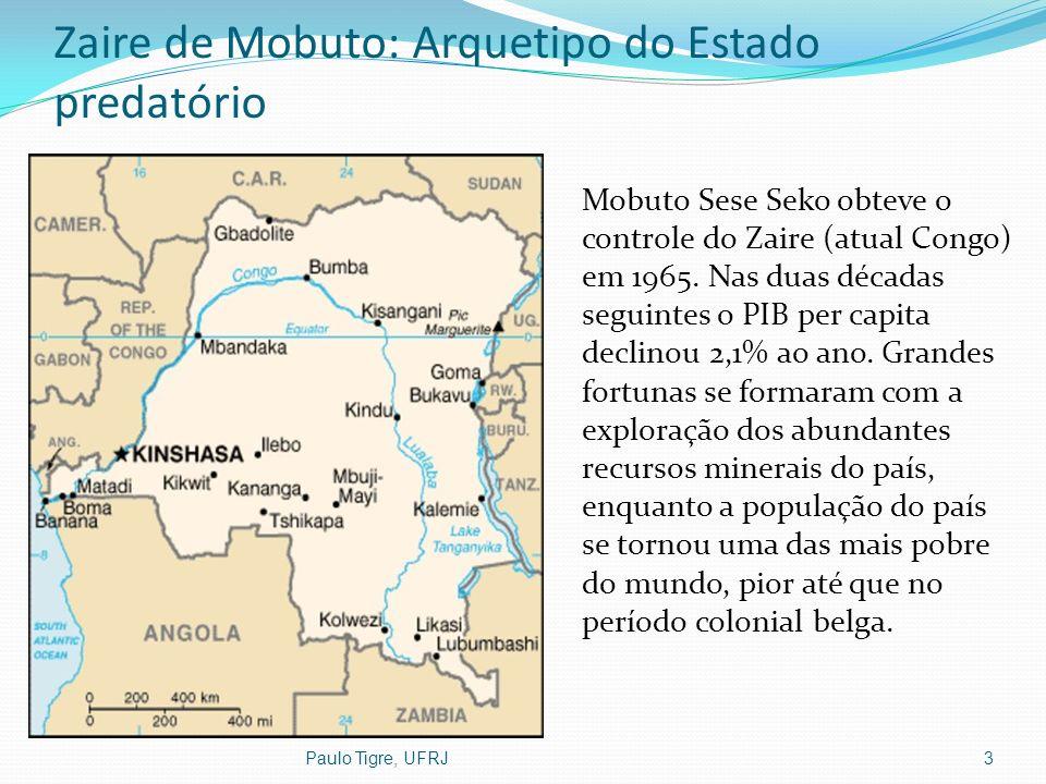 Zaire de Mobuto: Arquetipo do Estado predatório Mobuto Sese Seko obteve o controle do Zaire (atual Congo) em 1965. Nas duas décadas seguintes o PIB pe