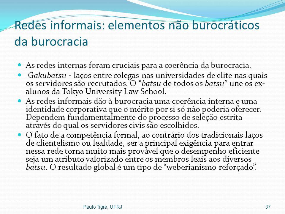Redes informais: elementos não burocráticos da burocracia As redes internas foram cruciais para a coerência da burocracia. Gakubatsu - laços entre col