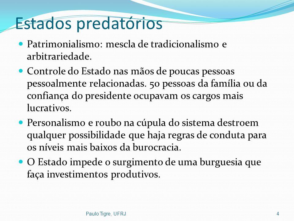 Estados predatórios Patrimonialismo: mescla de tradicionalismo e arbitrariedade. Controle do Estado nas mãos de poucas pessoas pessoalmente relacionad
