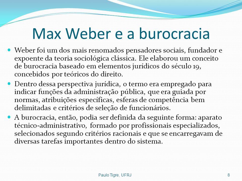 Max Weber e a burocracia Weber foi um dos mais renomados pensadores sociais, fundador e expoente da teoria sociológica clássica. Ele elaborou um conce