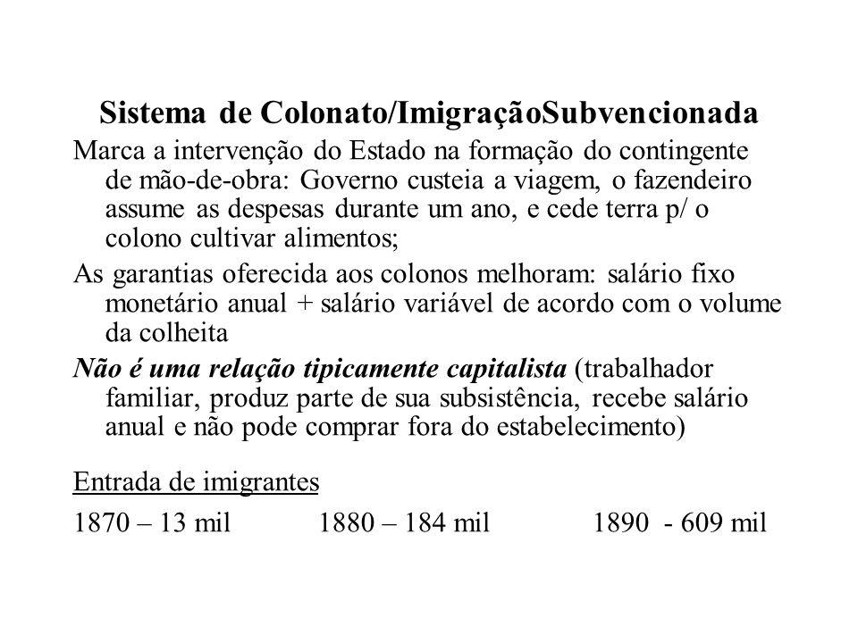 Sistema de Colonato/ImigraçãoSubvencionada Marca a intervenção do Estado na formação do contingente de mão-de-obra: Governo custeia a viagem, o fazend