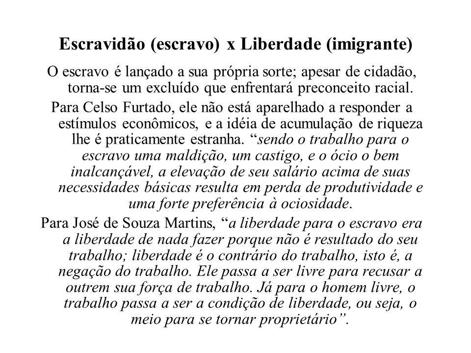 Escravidão (escravo) x Liberdade (imigrante) O escravo é lançado a sua própria sorte; apesar de cidadão, torna-se um excluído que enfrentará preconcei