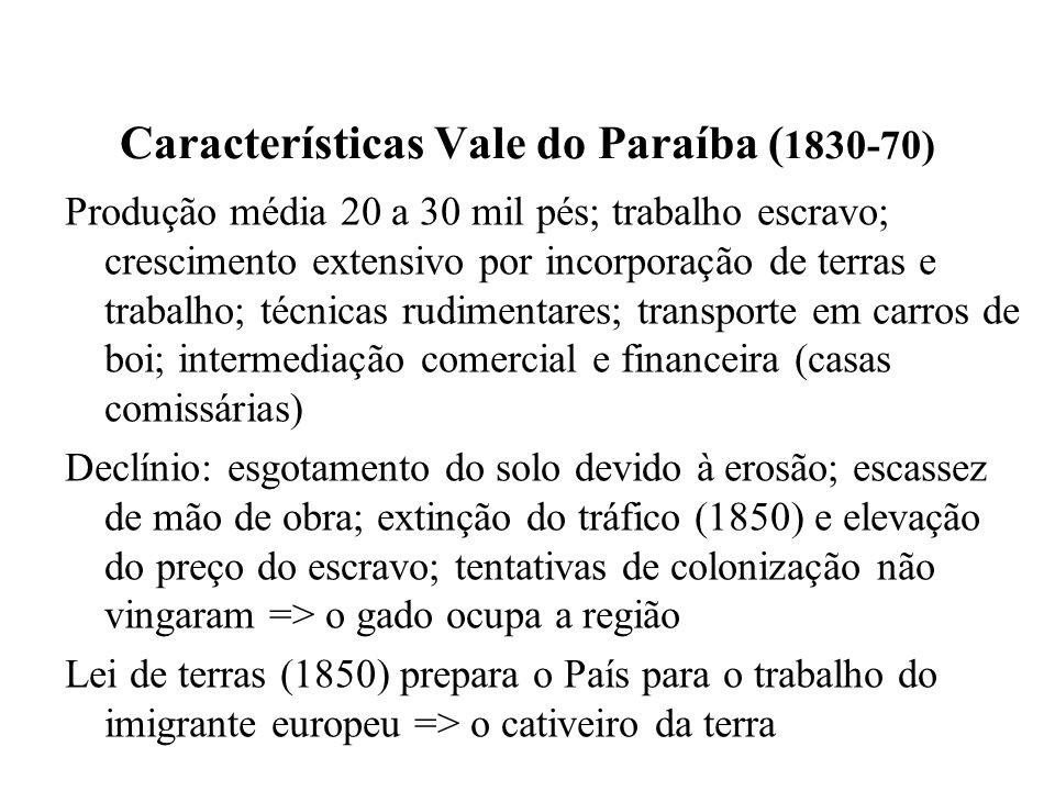 Características Vale do Paraíba ( 1830-70) Produção média 20 a 30 mil pés; trabalho escravo; crescimento extensivo por incorporação de terras e trabal