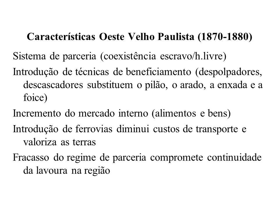 Características Oeste Velho Paulista (1870-1880) Sistema de parceria (coexistência escravo/h.livre) Introdução de técnicas de beneficiamento (despolpa