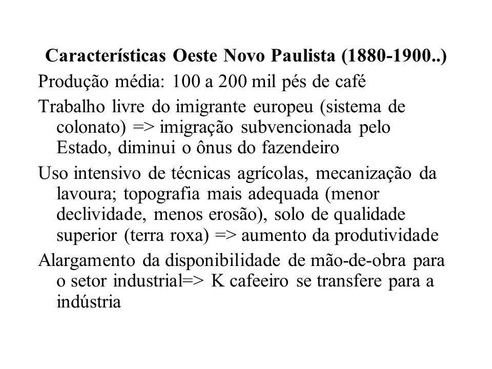 Características Oeste Novo Paulista (1880-1900..) Produção média: 100 a 200 mil pés de café Trabalho livre do imigrante europeu (sistema de colonato)