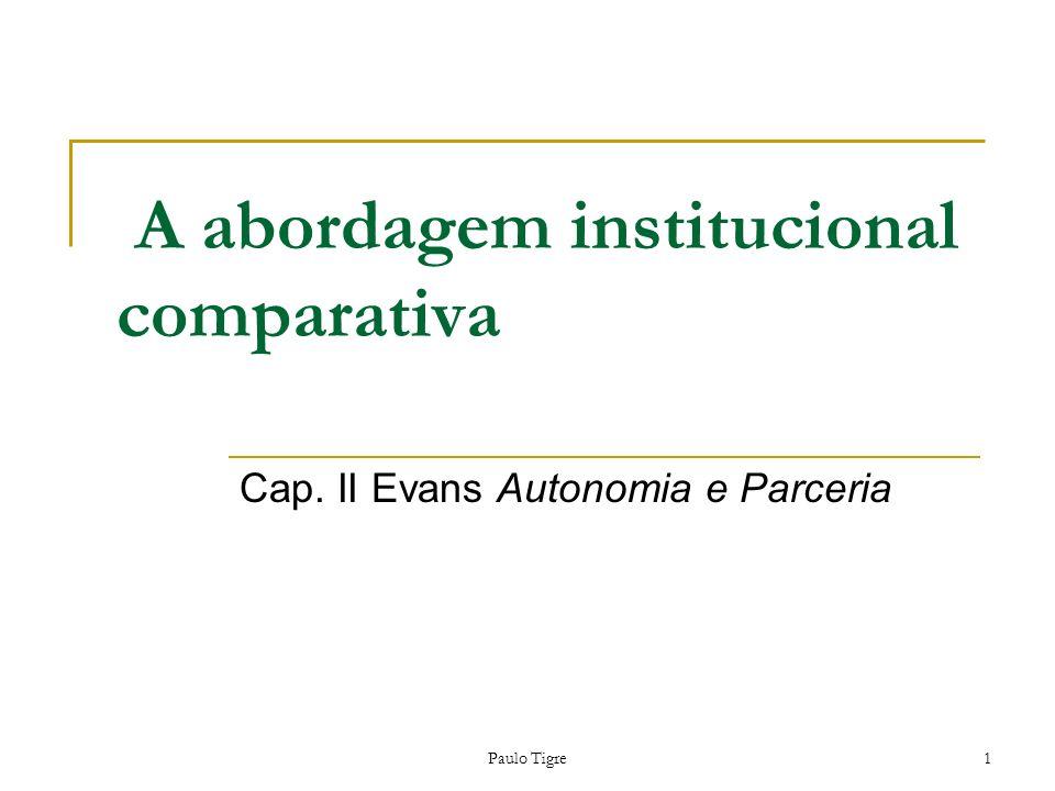 Paulo Tigre1 A abordagem institucional comparativa Cap. II Evans Autonomia e Parceria