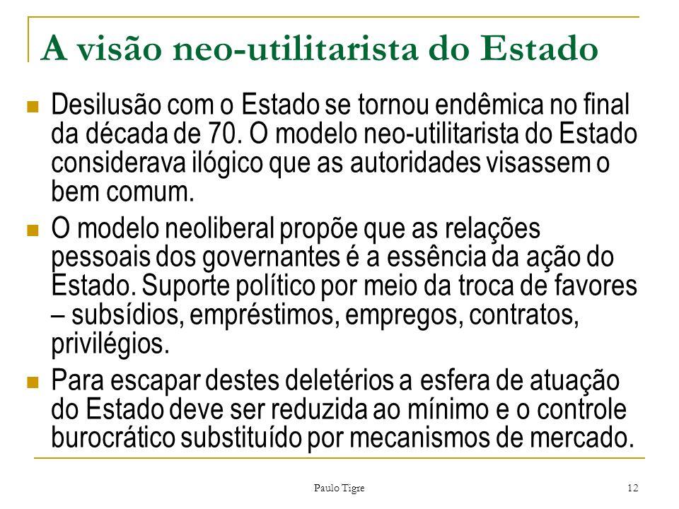 Paulo Tigre 12 A visão neo-utilitarista do Estado Desilusão com o Estado se tornou endêmica no final da década de 70. O modelo neo-utilitarista do Est