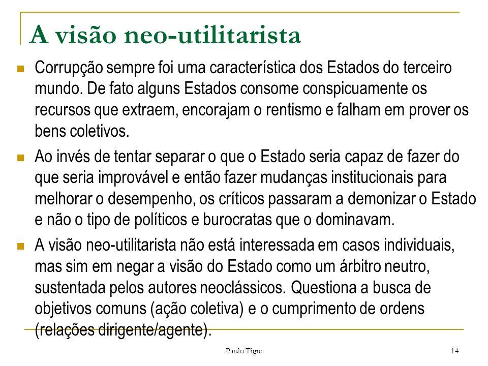 Paulo Tigre 14 A visão neo-utilitarista Corrupção sempre foi uma característica dos Estados do terceiro mundo. De fato alguns Estados consome conspicu