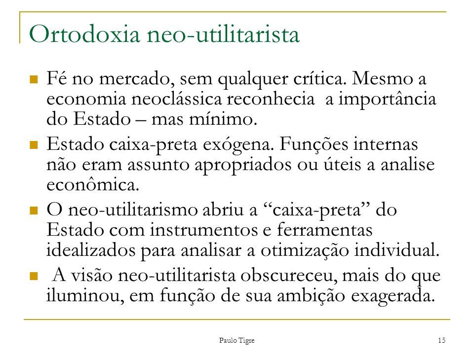 Ortodoxia neo-utilitarista Fé no mercado, sem qualquer crítica. Mesmo a economia neoclássica reconhecia a importância do Estado – mas mínimo. Estado c