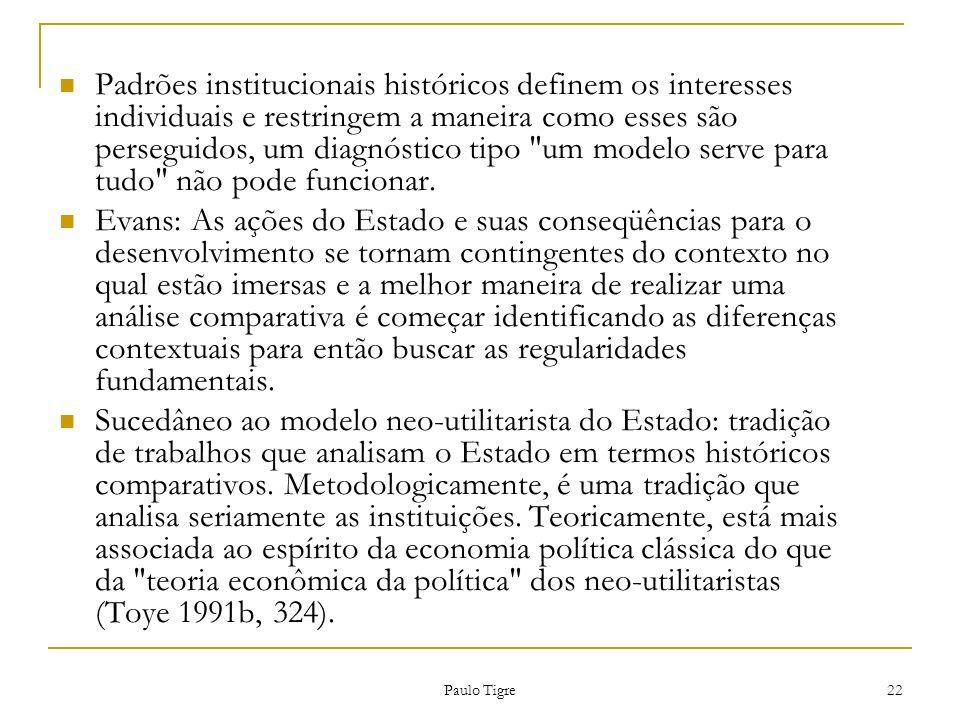 Paulo Tigre 22 Padrões institucionais históricos definem os interesses individuais e restringem a maneira como esses são perseguidos, um diagnóstico t