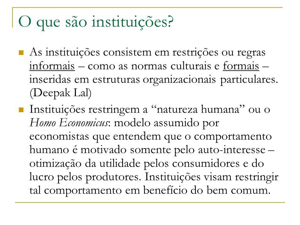 O que são instituições? As instituições consistem em restrições ou regras informais – como as normas culturais e formais – inseridas em estruturas org