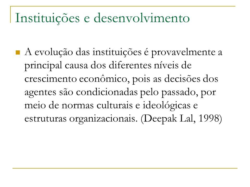 Instituições e desenvolvimento A evolução das instituições é provavelmente a principal causa dos diferentes níveis de crescimento econômico, pois as d