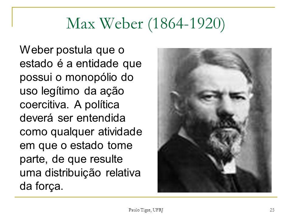 Max Weber (1864-1920) Weber postula que o estado é a entidade que possui o monopólio do uso legítimo da ação coercitiva. A política deverá ser entendi
