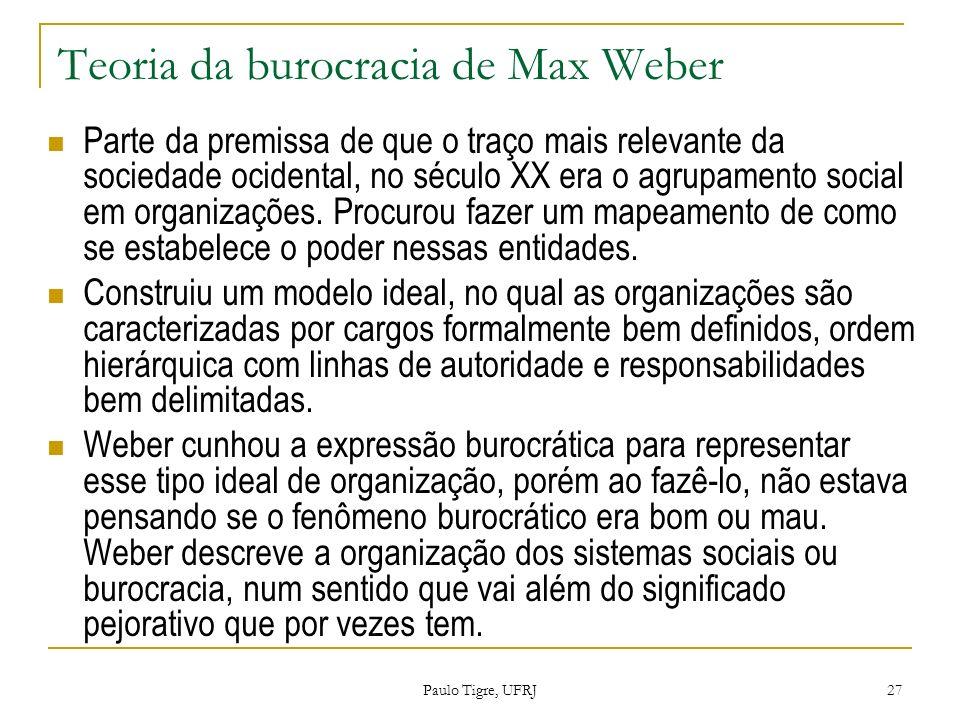 Teoria da burocracia de Max Weber Parte da premissa de que o traço mais relevante da sociedade ocidental, no século XX era o agrupamento social em org