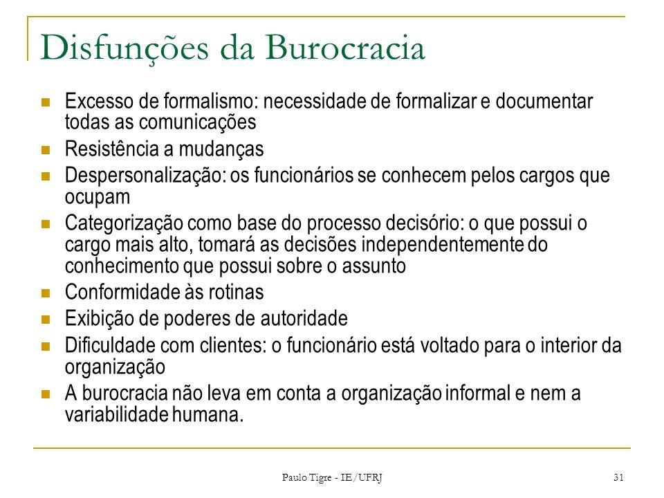 Disfunções da Burocracia Excesso de formalismo: necessidade de formalizar e documentar todas as comunicações Resistência a mudanças Despersonalização: