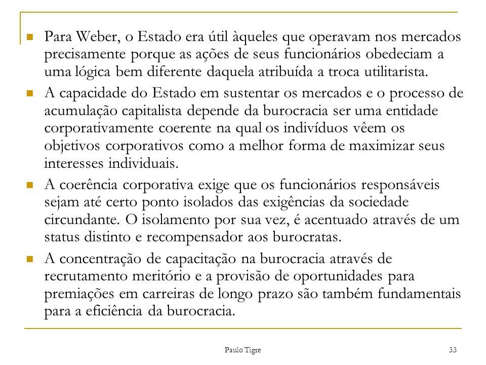Paulo Tigre 33 Para Weber, o Estado era útil àqueles que operavam nos mercados precisamente porque as ações de seus funcionários obedeciam a uma lógic