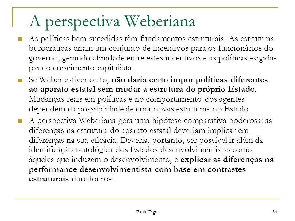 Paulo Tigre 34 A perspectiva Weberiana As políticas bem sucedidas têm fundamentos estruturais. As estruturas burocráticas criam um conjunto de incenti
