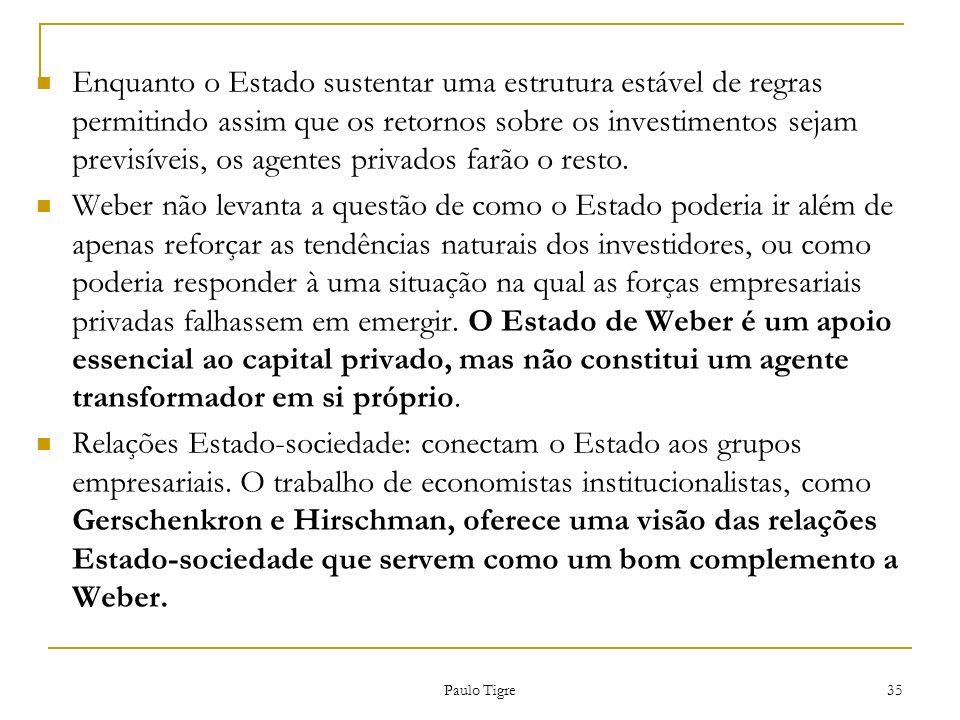 Paulo Tigre 35 Enquanto o Estado sustentar uma estrutura estável de regras permitindo assim que os retornos sobre os investimentos sejam previsíveis,