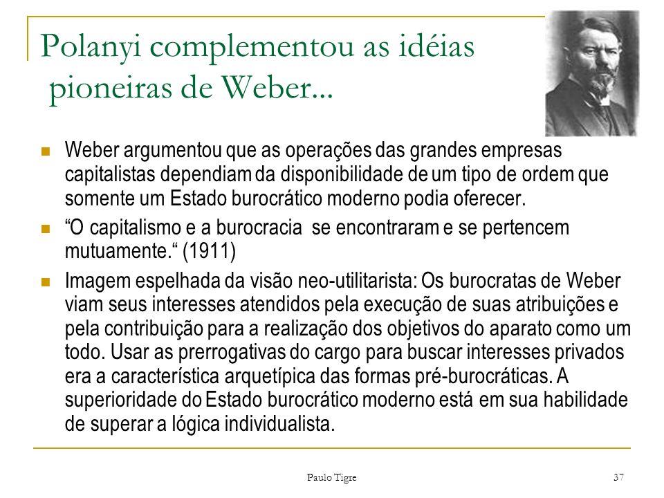 Paulo Tigre 37 Polanyi complementou as idéias pioneiras de Weber... Weber argumentou que as operações das grandes empresas capitalistas dependiam da d