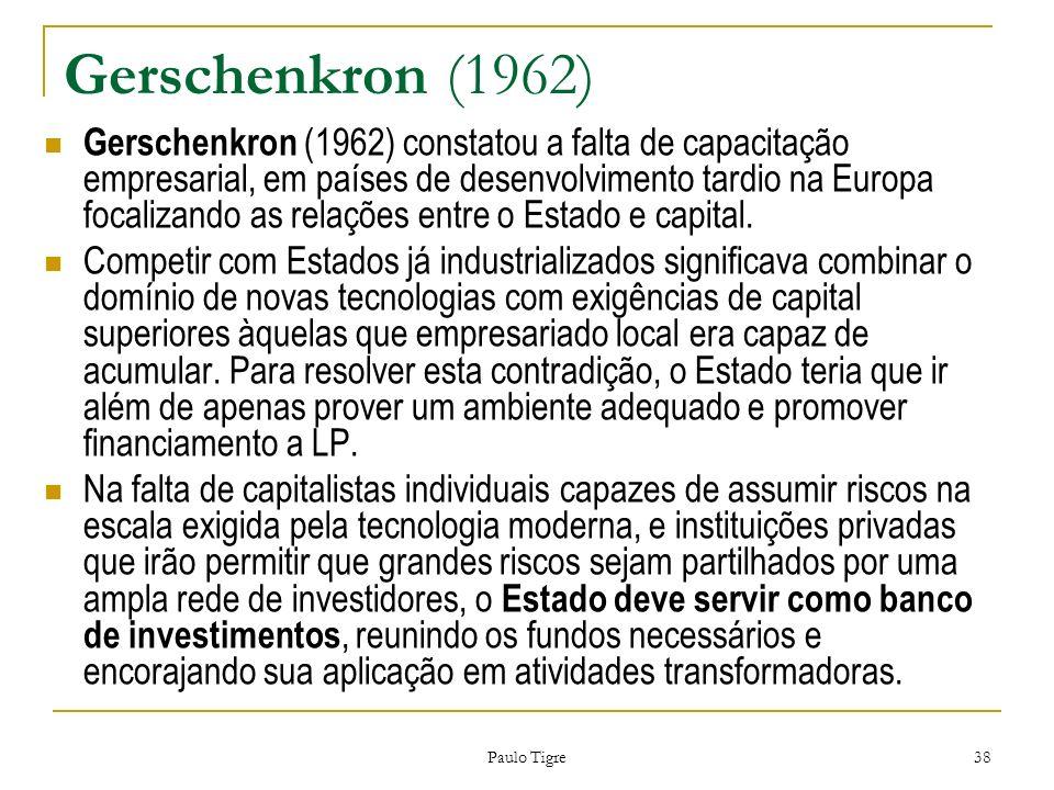 Paulo Tigre 38 Gerschenkron (1962) Gerschenkron (1962) constatou a falta de capacitação empresarial, em países de desenvolvimento tardio na Europa foc