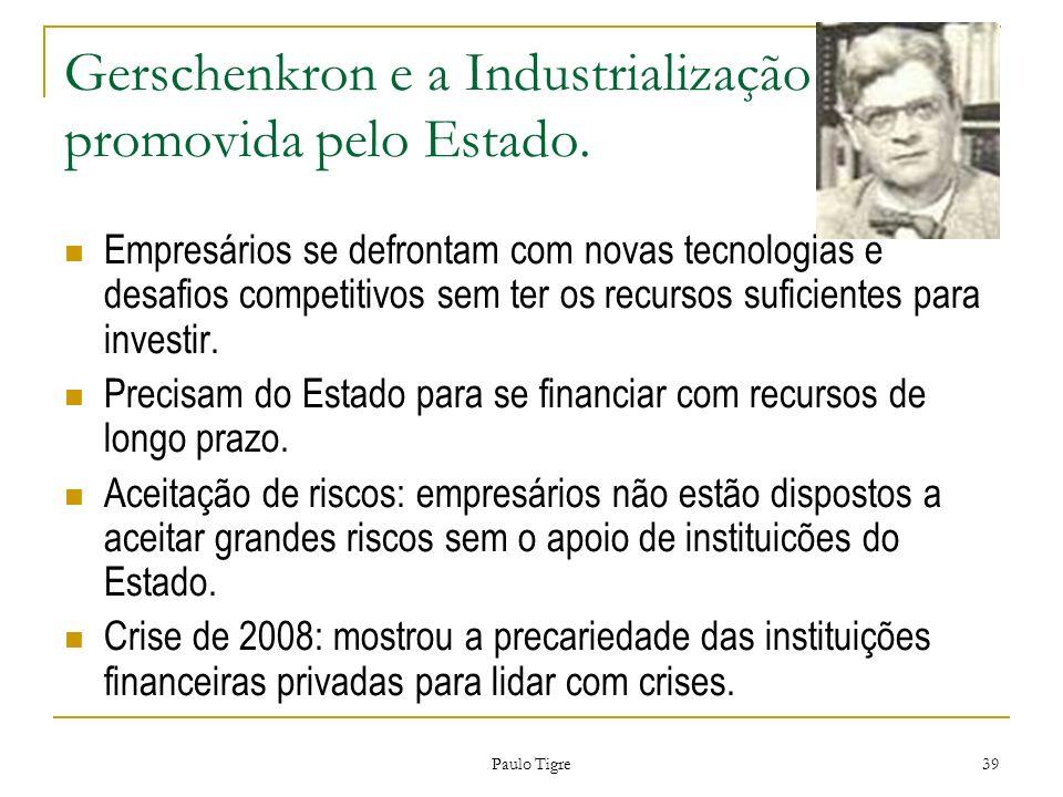 Paulo Tigre 39 Gerschenkron e a Industrialização promovida pelo Estado. Empresários se defrontam com novas tecnologias e desafios competitivos sem ter