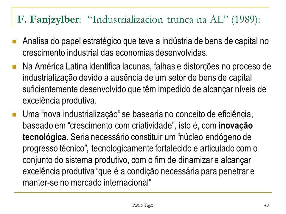 F. Fanjzylber: Industrializacion trunca na AL (1989): Analisa do papel estratégico que teve a indústria de bens de capital no crescimento industrial d