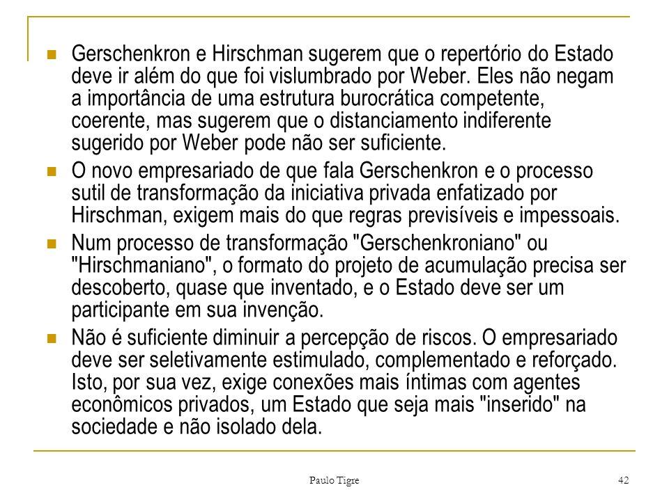 Paulo Tigre 42 Gerschenkron e Hirschman sugerem que o repertório do Estado deve ir além do que foi vislumbrado por Weber. Eles não negam a importância