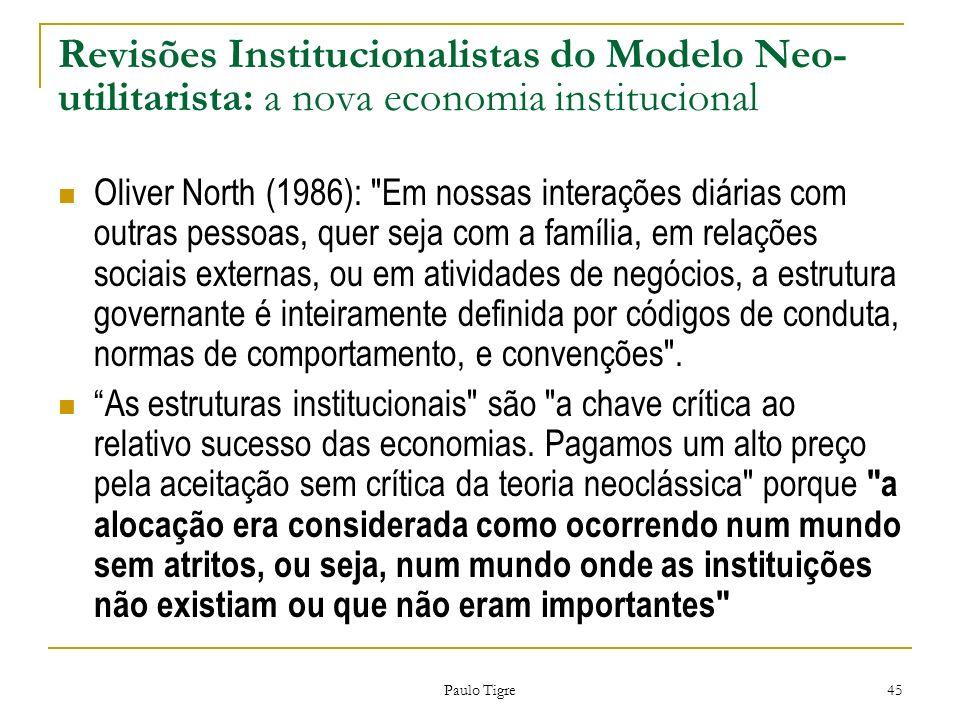 Paulo Tigre 45 Revisões Institucionalistas do Modelo Neo- utilitarista: a nova economia institucional Oliver North (1986):