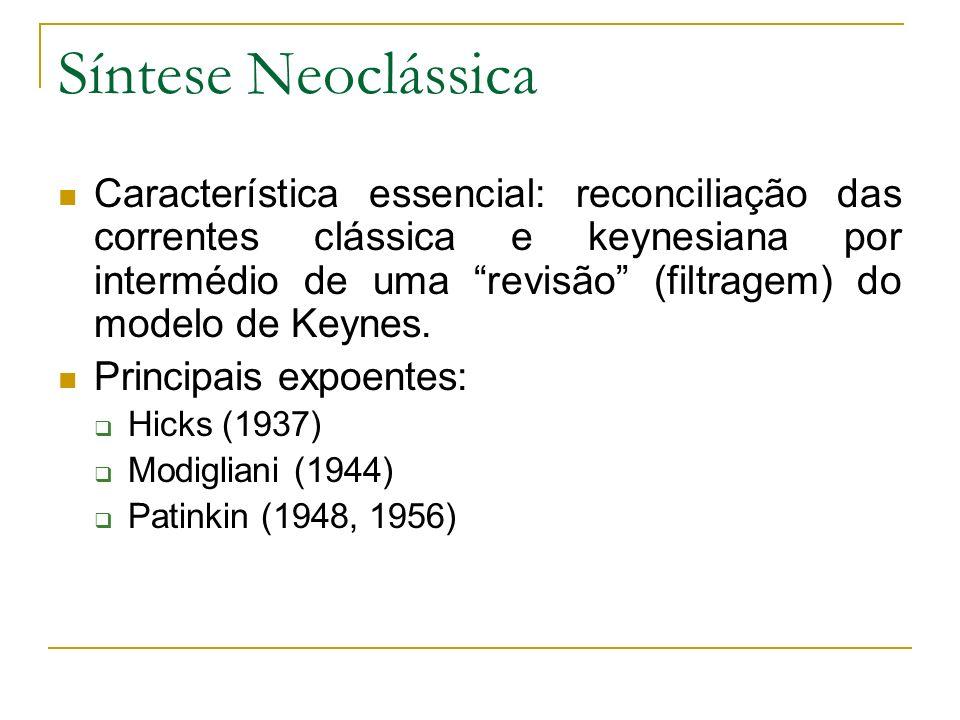 Síntese Neoclássica Característica essencial: reconciliação das correntes clássica e keynesiana por intermédio de uma revisão (filtragem) do modelo de