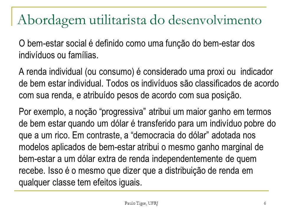 Abordagem utilitarista do desenvolvimento 1. O bem-estar social é definido como uma função do bem-estar dos indivíduos ou famílias. 2. A renda individ