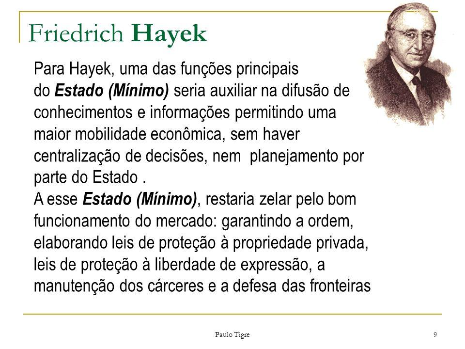 Friedrich Hayek Paulo Tigre 9 Para Hayek, uma das funções principais do Estado (Mínimo) seria auxiliar na difusão de conhecimentos e informações permi