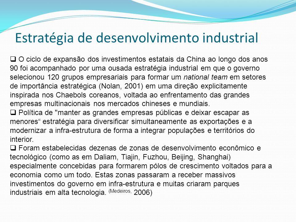 O ciclo de expansão dos investimentos estatais da China ao longo dos anos 90 foi acompanhado por uma ousada estratégia industrial em que o governo sel