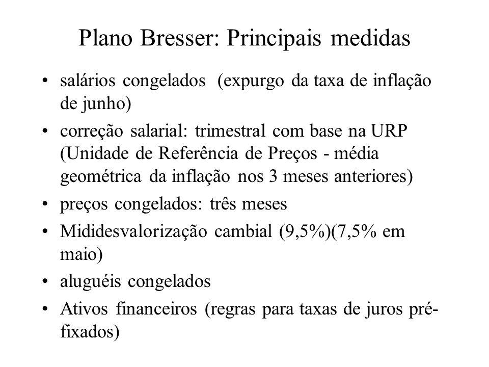 Plano Bresser: Principais medidas salários congelados (expurgo da taxa de inflação de junho) correção salarial: trimestral com base na URP (Unidade de