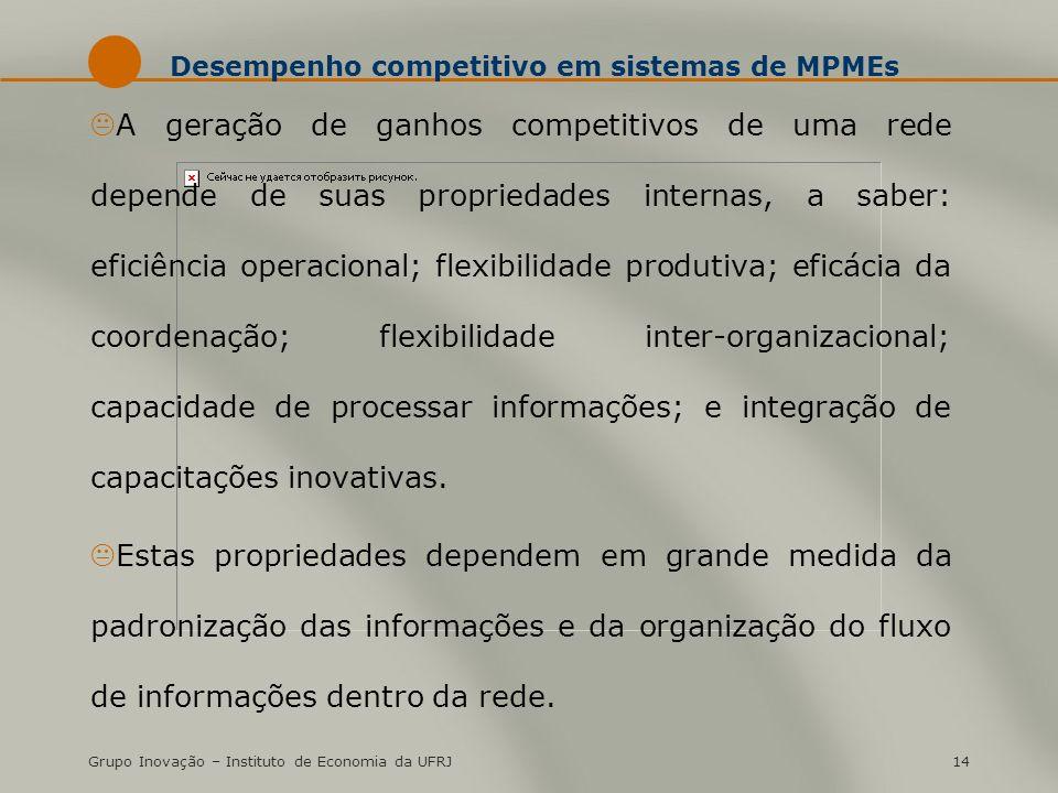 Grupo Inovação – Instituto de Economia da UFRJ14 Desempenho competitivo em sistemas de MPMEs KA geração de ganhos competitivos de uma rede depende de