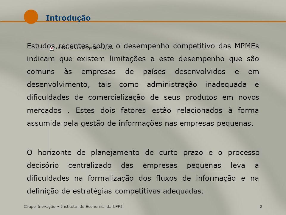 Grupo Inovação – Instituto de Economia da UFRJ2 Introdução Estudos recentes sobre o desempenho competitivo das MPMEs indicam que existem limitações a