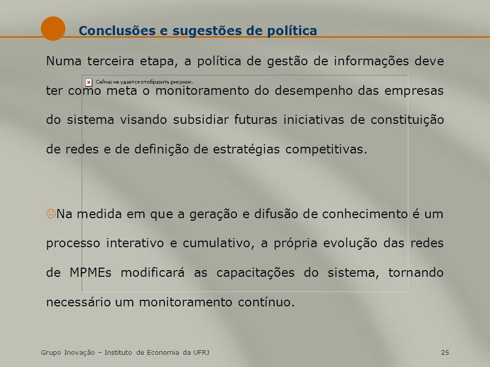Grupo Inovação – Instituto de Economia da UFRJ25 Conclusões e sugestões de política Numa terceira etapa, a política de gestão de informações deve ter