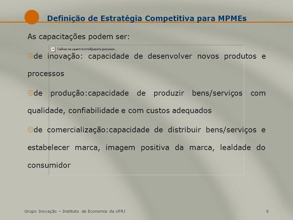 Grupo Inovação – Instituto de Economia da UFRJ5 Definição de Estratégia Competitiva para MPMEs As capacitações podem ser: Kde inovação: capacidade de