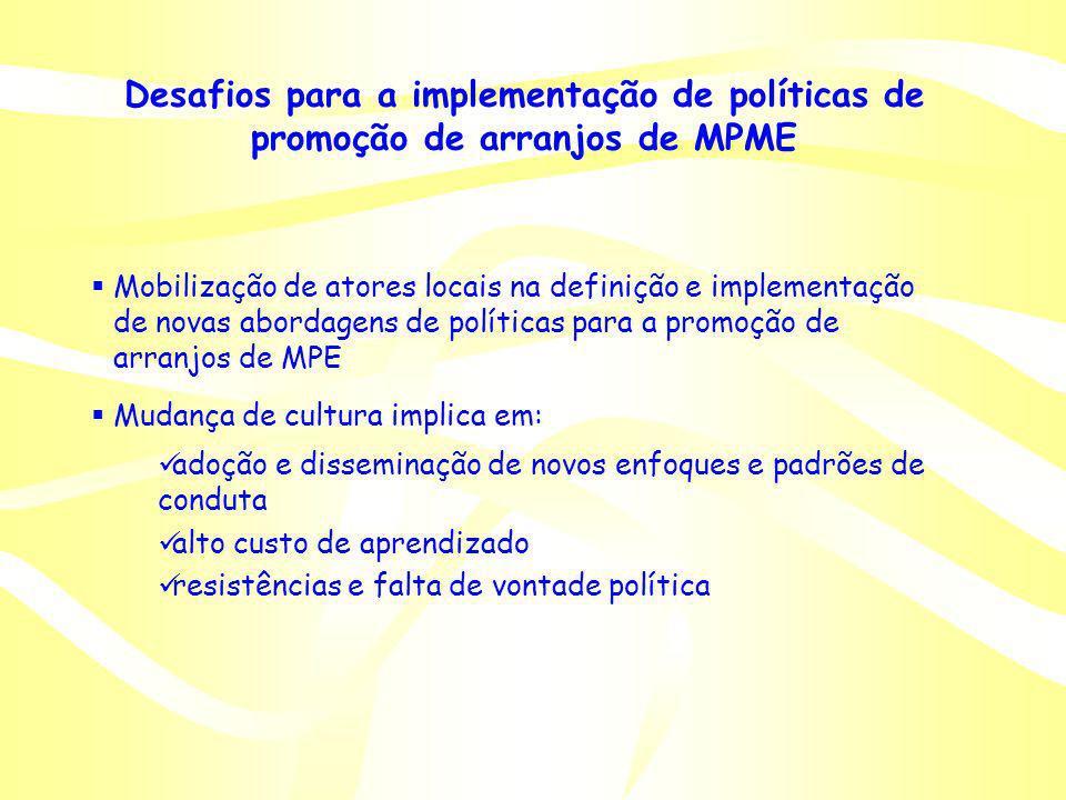 Desafios para a implementação de políticas de promoção de arranjos de MPME Mobilização de atores locais na definição e implementação de novas abordage