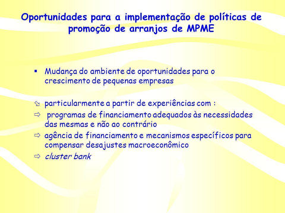 Oportunidades para a implementação de políticas de promoção de arranjos de MPME Mudança do ambiente de oportunidades para o crescimento de pequenas em