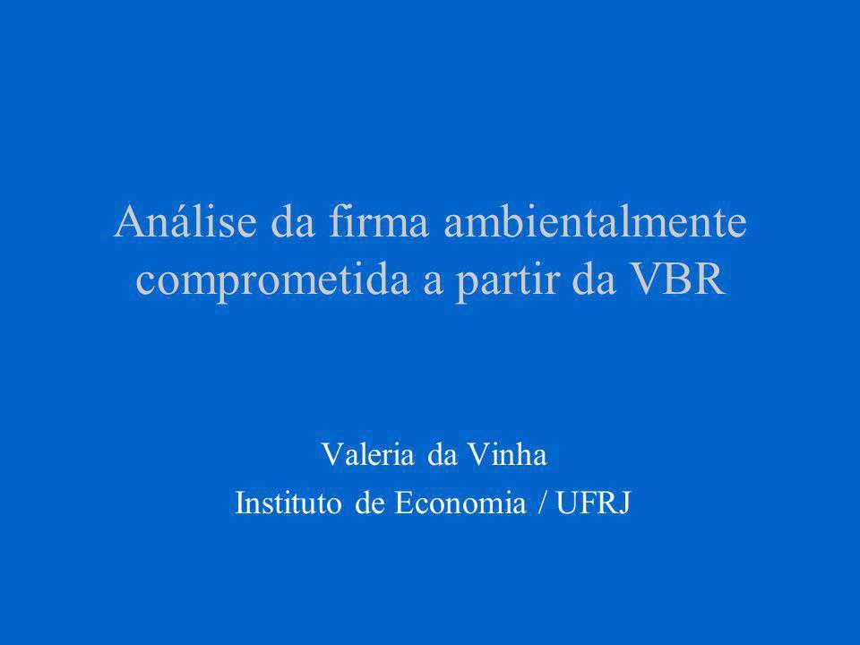 Análise da firma ambientalmente comprometida a partir da VBR Valeria da Vinha Instituto de Economia / UFRJ