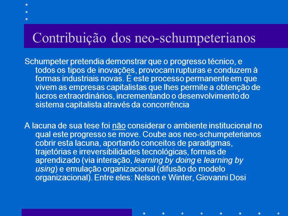 Contribuição dos neo-schumpeterianos Schumpeter pretendia demonstrar que o progresso técnico, e todos os tipos de inovações, provocam rupturas e condu