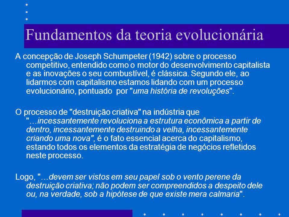 Fundamentos da teoria evolucionária A concepção de Joseph Schumpeter (1942) sobre o processo competitivo, entendido como o motor do desenvolvimento ca