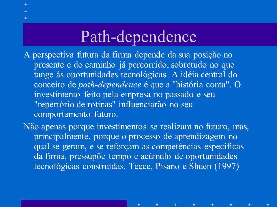 Path-dependence A perspectiva futura da firma depende da sua posição no presente e do caminho já percorrido, sobretudo no que tange às oportunidades t