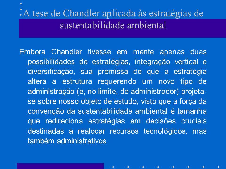 A tese de Chandler aplicada às estratégias de sustentabilidade ambiental Embora Chandler tivesse em mente apenas duas possibilidades de estratégias, i