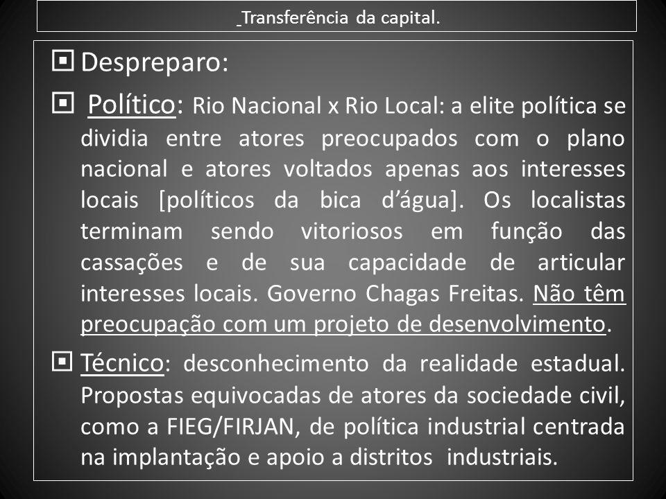 Transferência da capital. Despreparo: Político: Rio Nacional x Rio Local: a elite política se dividia entre atores preocupados com o plano nacional e