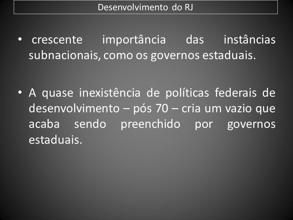 Desenvolvimento do RJ crescente importância das instâncias subnacionais, como os governos estaduais. A quase inexistência de políticas federais de des
