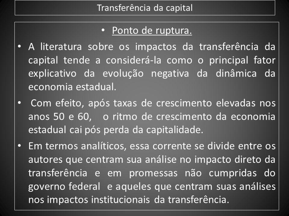 Transferência da capital Ponto de ruptura. A literatura sobre os impactos da transferência da capital tende a considerá-la como o principal fator expl