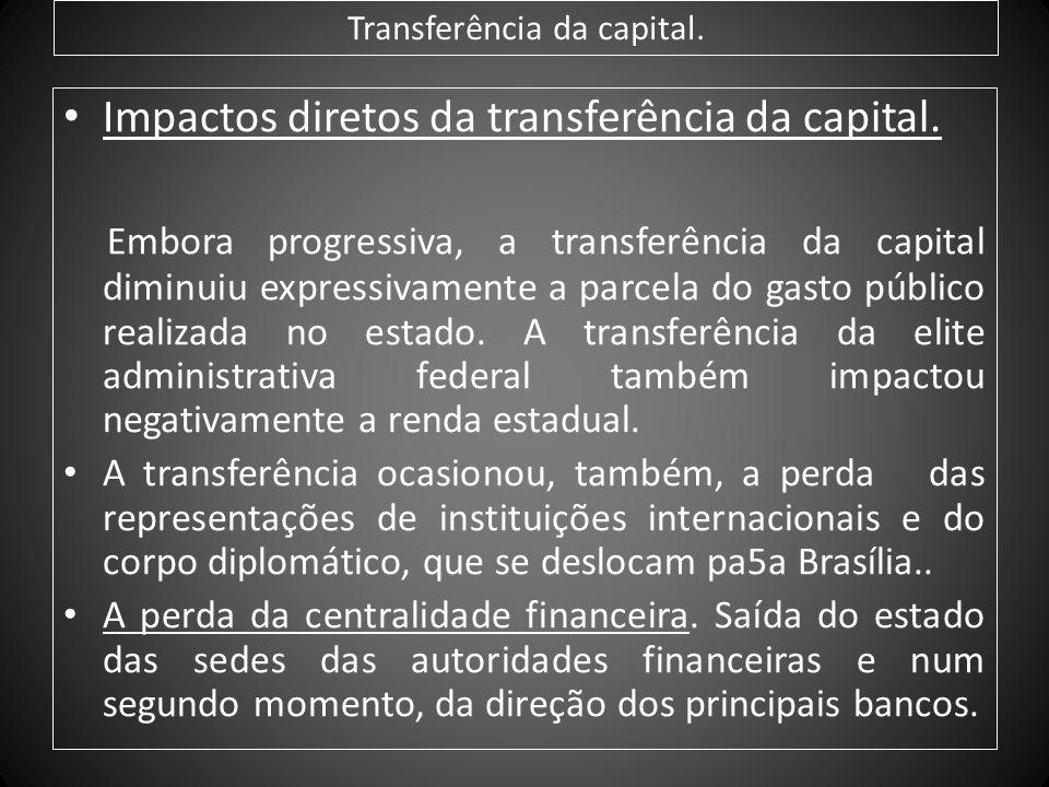 Transferência da capital. Impactos diretos da transferência da capital. Embora progressiva, a transferência da capital diminuiu expressivamente a parc