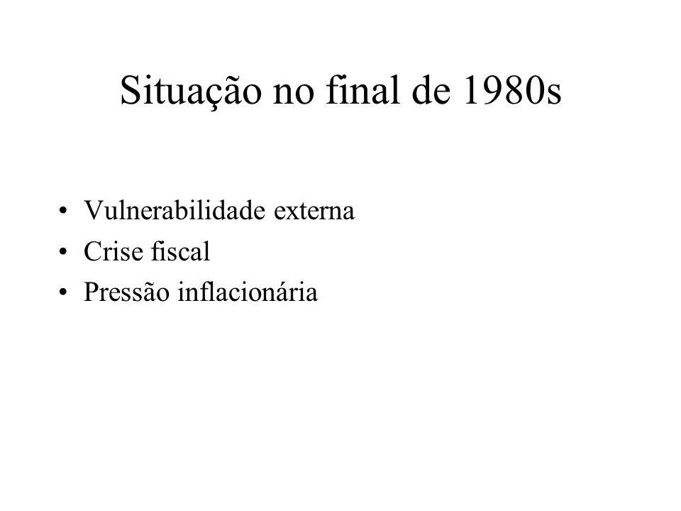 Foco da política econômica: 1990s 1990-1998: inflação 1999...